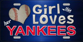 This Girl Loves Her Yankees Novelty Metal License Plate