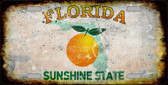 Florida Background Rusty Novelty Metal License Plate