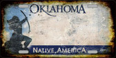 Oklahoma Background Rusty Novelty Metal License Plate