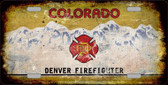 Denver Firefighter Background Rusty Novelty Metal License Plate