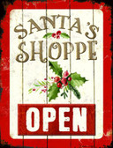 Santas Shop Open Metal Novelty Parking Sign