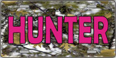 Pink Hunter Metal Novelty License Plate
