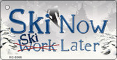 Ski Now Work Later Novelty Metal Key Chain