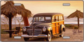 1941 Woody On The Beach Metal Novelty License Plate
