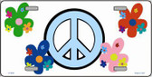 Peace Sign and Flowers Metal Novelty License Plate