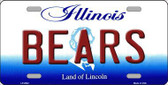 Bears Illinois State Background Novelty Metal License Plate
