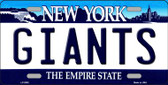 Giants New York State Background Novelty Metal License Plate