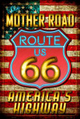 Route 66 Neon Metal Novelty Large Parking Sign LGP-1704