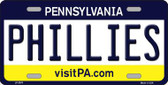 Phillies Pennsylvania Novelty State Background Metal License Plate LP-2076