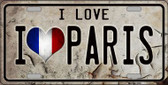 I Love Paris Novelty Metal License Plate