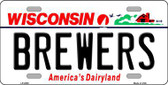 Brewers Wisconsin State Background Novelty Metal License Plate