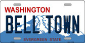 Bell Town Washington Background Novelty Metal License Plate