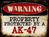 An AK-47 Metal Novelty Parking Sign