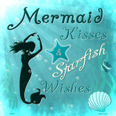 Mermaid Kisses Novelty Metal Square Sign