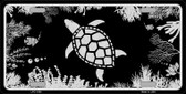 Turtle Black Brushed Chrome Novelty Metal License Plate