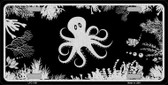 Octopus Black Brushed Chrome Novelty Metal License Plate