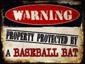 Baseball Bat Metal Novelty Parking Sign