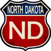 North Dakota Metal Novelty Highway Shield