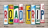 Road Trip Wood License Plate Art Novelty Metal Magnet