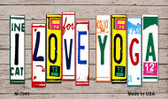 I Love Yoga Wood License Plate Art Novelty Metal Magnet
