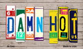 Damn Hot Wood License Plate Art Novelty Metal Magnet