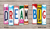 Dream Big Wood License Plate Art Novelty Metal Magnet