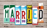 Married Wood License Plate Art Novelty Metal Magnet