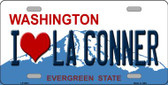 I Love La Conner Washington Background Novelty Metal License Plate