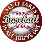 Baseball Novelty Metal Circular Sign