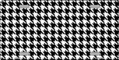 White Black Houndstooth Metal Novelty License Plate