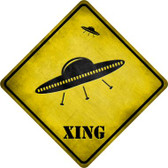 UFO Spaceship Xing Novelty Metal Crossing Sign