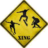 Skateboarder Xing Novelty Metal Crossing Sign