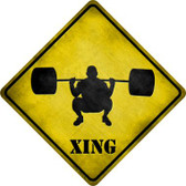 Weight Lifting Xing Novelty Metal Crossing Sign