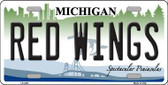 Redwings Michigan Novelty State Background Metal License Plate