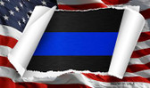 Thin Blue Line Scroll Novelty Metal Magnet