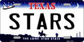 Stars Texas Novelty State Background Metal License Plate