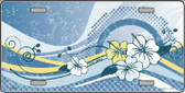 Blue Hawaii Hibiscus Metal Novelty License Plate