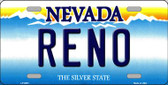 Reno Nevada Background Novelty Metal License Plate