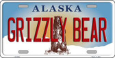 Grizzly Bear Alaska State Background Novelty Metal License Plate