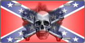 Confederate Flag Skull Metal Novelty License Plate