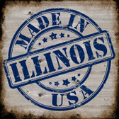 Illinois Stamp On Wood Novelty Metal Square Sign