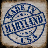 Maryland Stamp On Wood Novelty Metal Square Sign