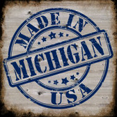 Michigan Stamp On Wood Novelty Metal Square Sign