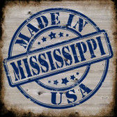 Mississippi Stamp On Wood Novelty Metal Square Sign