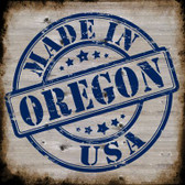 Oregon Stamp On Wood Novelty Metal Square Sign
