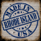 Rhode Island Stamp On Wood Novelty Metal Square Sign