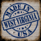 West Virginia Stamp On Wood Novelty Metal Square Sign
