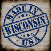 Wisconsin Stamp On Wood Novelty Metal Square Sign