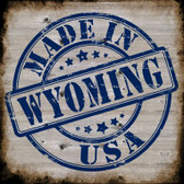 Wyoming Stamp On Wood Novelty Metal Square Sign