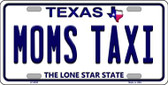 Moms Taxi Texas Background Novelty Metal License Plate